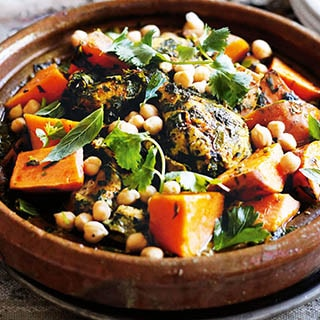 Moroccan Chicken Tajine with Chickpeas, Olive & Prunes